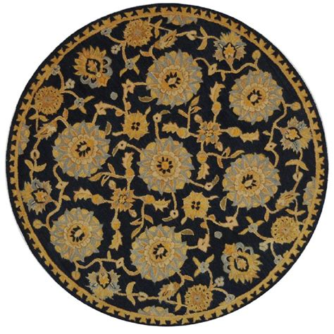 4 X 4 Area Rugs Safavieh Anatolia Navy 4 Ft X 4 Ft Area Rug An537a 4r The Home Depot