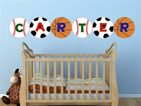 sports name personalized nursery wall decals yendo print