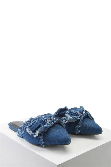 Flat Demin forever 21 frayed denim bow flat mules in blue lyst
