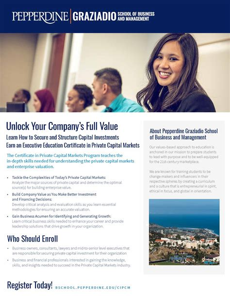 Capital Mba Accreditation by Certificate In Capital Markets Pepperdine