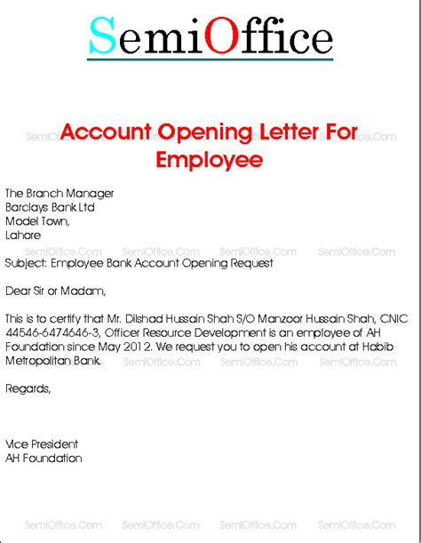Endorsement Letter To Open An Account Bank Account Opening Letter For Company Employee