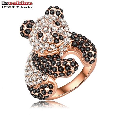 wholesale lovely panda shaped engagement rings with18k