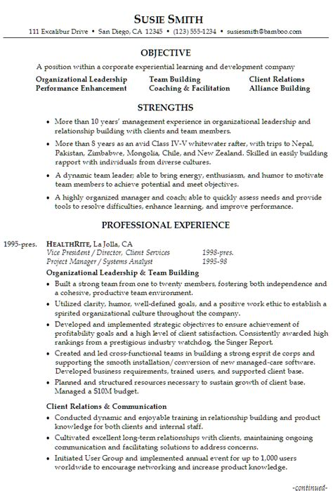Good Resume Objectives Healthcare by Resume For A Corporate Leadership Trainer Susan Ireland Resumes