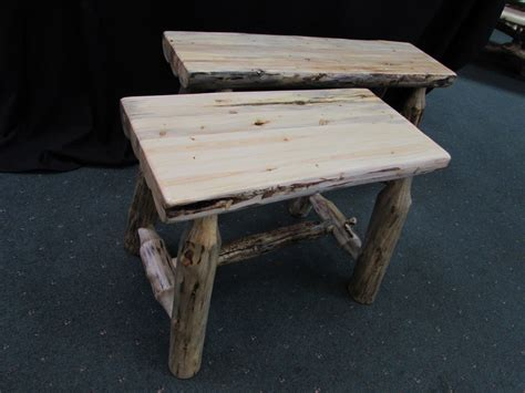 pine log bench rustic pine laminated half log benches sisters log furniture
