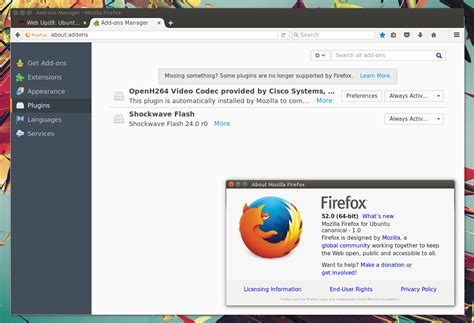 mozilla firefox themes linux firefox 52 released with webassembly support removes