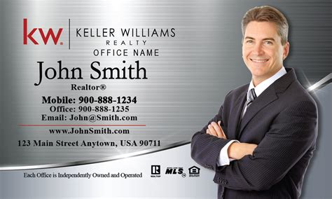 keller williams realty business card templates keller williams business card silver stainless design