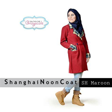 Baju Muslim Maroon grosir baju muslim wanita bandung shanghai coat maroon