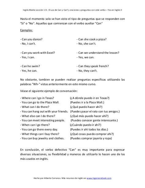 preguntas en ingles de si o no 1 9 el verbo defectivo can en preguntas y oraciones