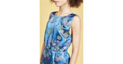 Blue Flower Back Dress Sml tucker sleeveless v back dress in blue lyst