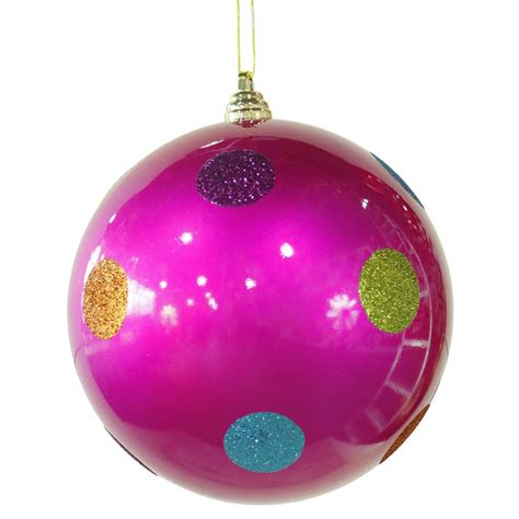 8 inch polka dot christmas ball ornament pink m120409