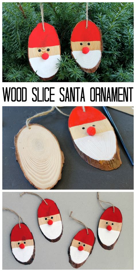 christmas wood projects for adults pinterest wood slice santa ornaments the country chic cottage