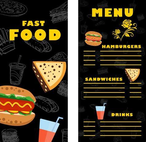 fast food menu card templates fast food menu template contrast design on free