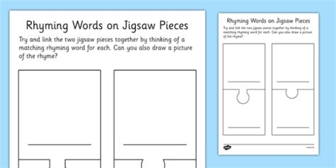 jigsaw puzzle template for word rhyming words jigsaw pieces blank template rhyming words