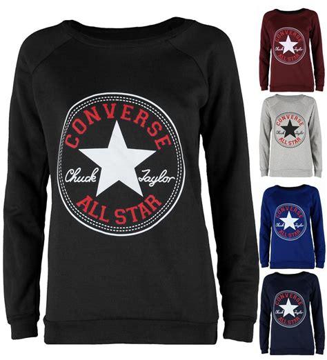 Sweater Logo Converse womens winter warm sleeve converse logo sweatshirt top pullover jumper ebay