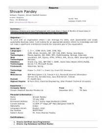resume format for 1 year experienced java developer database oracle and java professional with more than 2