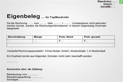 Muster Rechnung Einzelunternehmen Eigenbeleg Muster Gratis Herunterladen Everbill Magazin