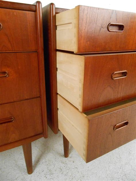 2 pc matching danish modern teak bedroom dresser set by pair mid century modern danish teak bedroom dressers at
