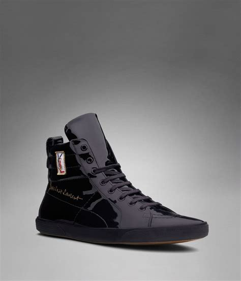 ysl mens sneakers ysl classic high top sneaker in black patent leather