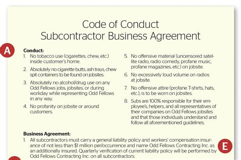 code of conduct sle template by the subcontractor agreement remodeling