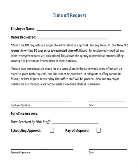 Time Request Email Template Sle Time Off Request Form 12 Free Documents In Doc Pdf