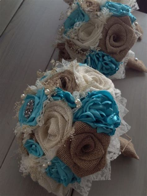 Handmade Wedding Flowers - handmade bridal bouquets with and ivory burlap and