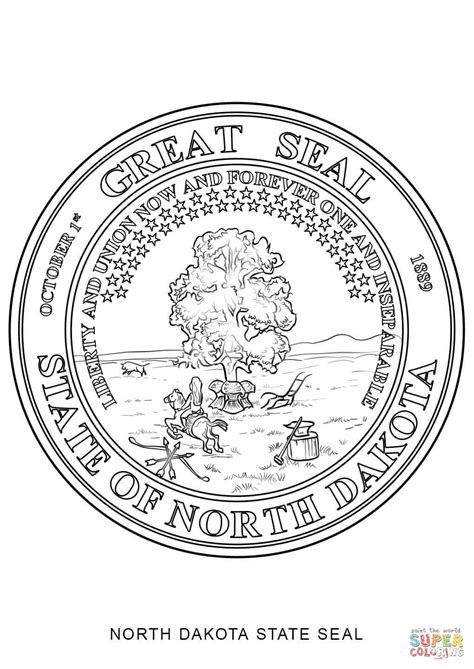 north dakota state seal coloring page free printable