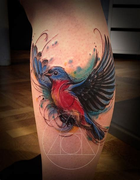 bluebird tattoo designs bird sketch calf on tattoochief tattoos