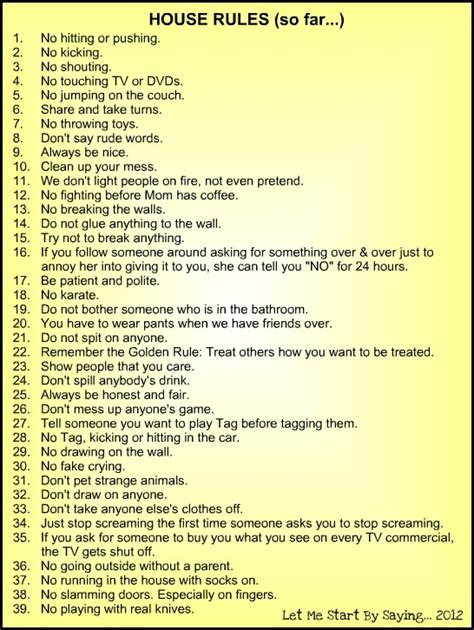 printable house rules 9 best images of printable household rules free