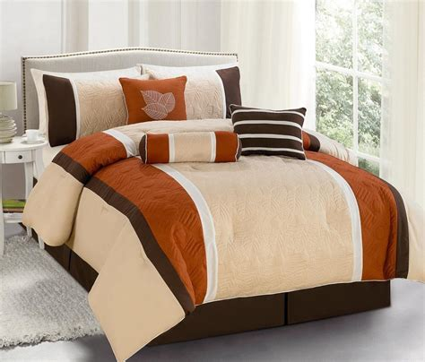 contemporary bedroom ideas with brown white orange bedding