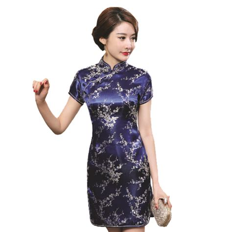 Birds Flower Cheongsam Size L Xl navy blue traditional dress s satin qipao summer vintage cheongsam flower