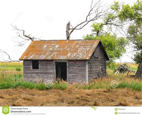 abandoned shack in a prairie field stock image image