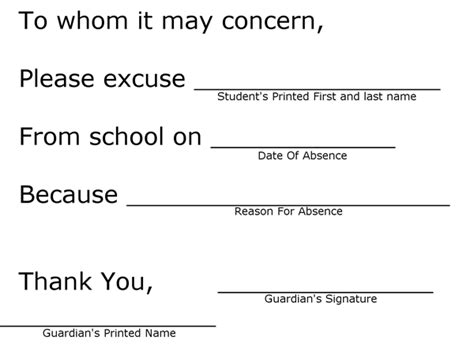 parent note to school template for students student information