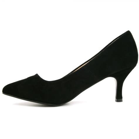 patent suede style kitten heel pointy toe court shoes