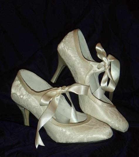 Vintage Schuhe Hochzeit by Ivory Satin Lace Vintage Style Bridal Wedding Shoes Ebay