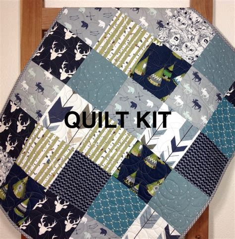 Quilt Kits For Baby Boy by Baby Boy Quilt Kit Woodland Quilt Kit Tribal Nursery Deer