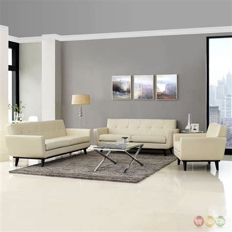 Tufted Living Room Set Engage Contemporary 3pc Button Tufted Leather Living Room Set Beige