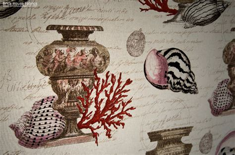maine upholstery seashell red coral fabric antique documentary toile