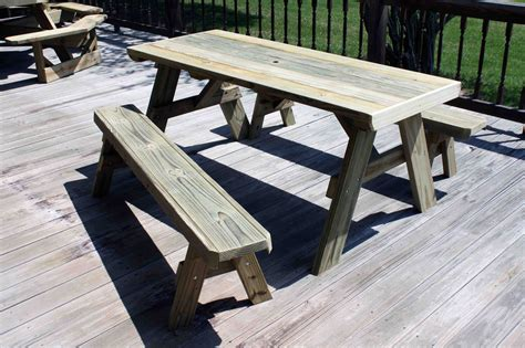 picnic table plans detached benches  woodworking
