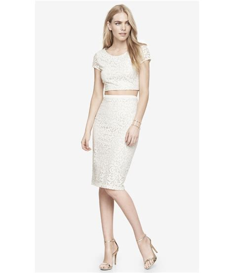express high waist lace midi pencil skirt in white warm