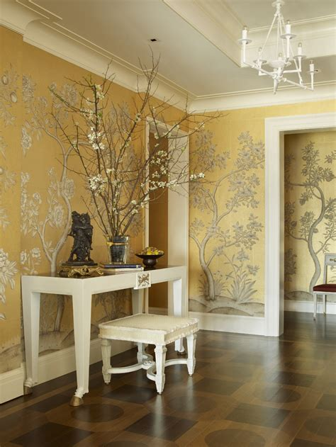 foyer wallpaper golden yellow botanical wallpaper foyer interiors by color
