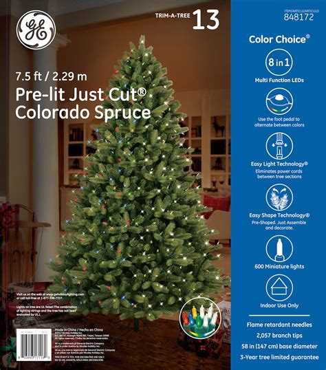 75 ft just cut norway spruce ez light artificial christmas tree with 800 color lights 17118 ge just cut 174 colorado spruce 7 5 ft color choice 174 led 600ct 7mm lights warm white