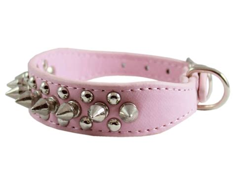 pink spiked collar 8 quot 10 quot pink faux leather spiked studded collar 7 8 quot wide for small