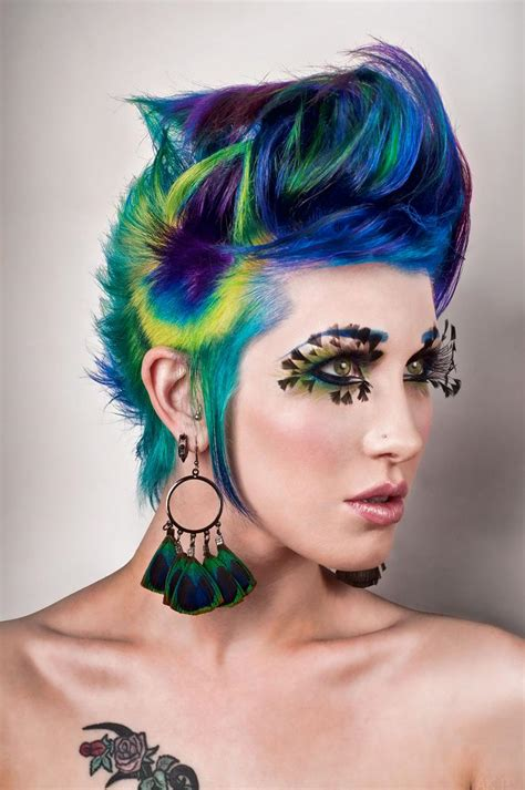 peacock colored hair peacock hair by ryo says meow on deviantart