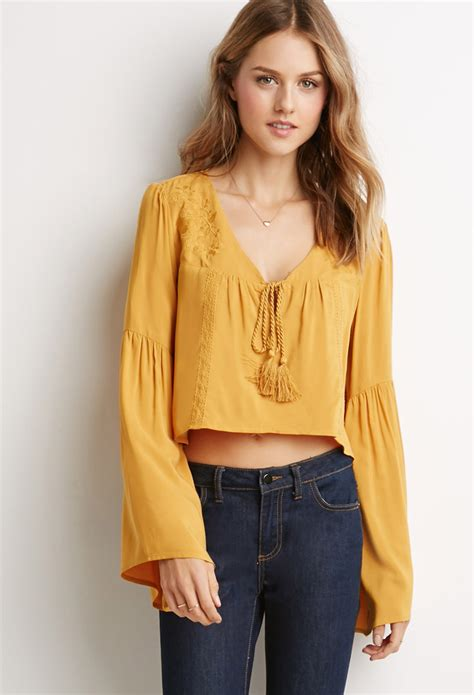 Blouse Cookies Bell lyst forever 21 embroidered bell sleeve peasant top in