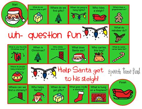 printable language board games speech time fun wh question christmas board game freebie