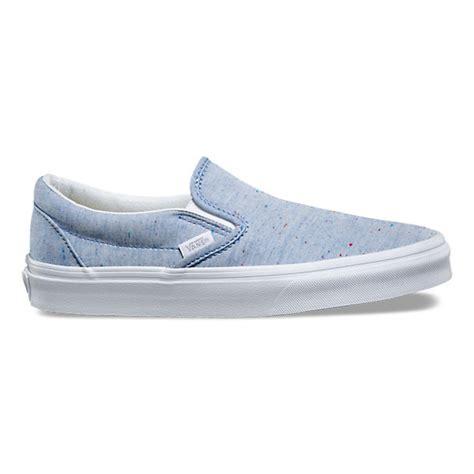 light blue slip on vans speckle jersey slip on shop shoes at vans