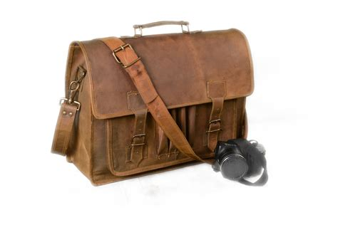 Handmade Briefcase - rustic 18 inch distressed leather messenger bag briefcase
