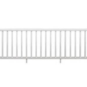 home depot deck railing kit 8 ft x 36 in white vinyl traditional rail kit 73003989