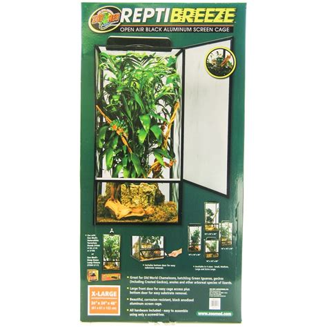 Zoo Med L by Zoo Med Zoo Med Reptibreeze Open Air Black Aluminum Screen Cage Reptile Cages Terrariums