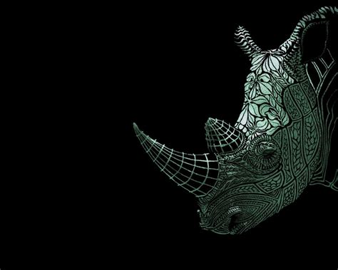 simplywallpapers com tattoo rhino black white animal